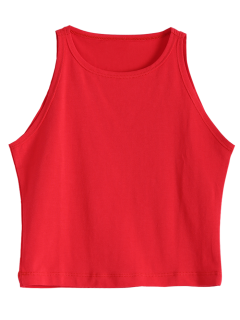 Cropped Ribbed Tank Top - Red Xs