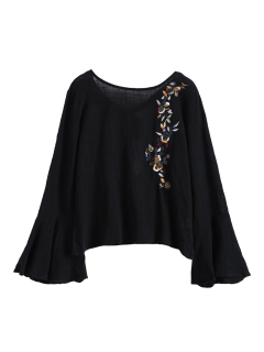 Bell Sleeve Floral Embroidered Blouse - Black L