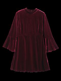 Cut Out Bell Sleeve Velvet Dress - Burgundy S