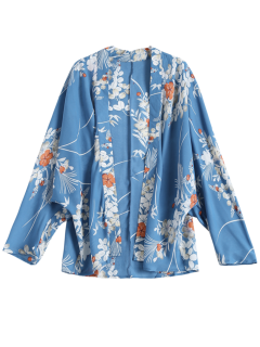 Open Front Floral Print Kimono Blouse - Blue S