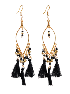 Vintage Beads Tassel Drop Earrings - Black