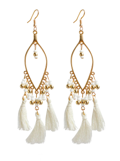 Vintage Beads Tassel Drop Earrings - White