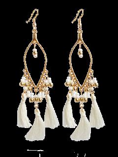 Vintage Beads Tassel Drop Earrings - White