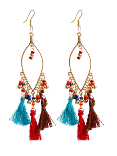 Vintage Beads Tassel Drop Earrings