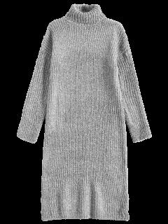 Vestido Largo Del Suéter De Cuello De Tortuga Tweed - Gris