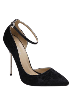 Velvet Pointed Toe Ankle Strap Pumps - Black 40