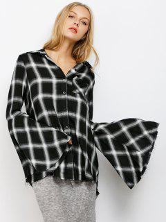 Plaid Bell Sleeve Shirt - White And Black L