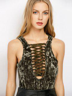 Lace Up Velvet Bodysuit - Army Green Xl