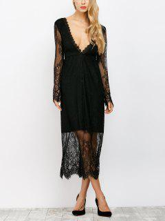 See Thru Low Cut Lace Maxi Dress - Black S