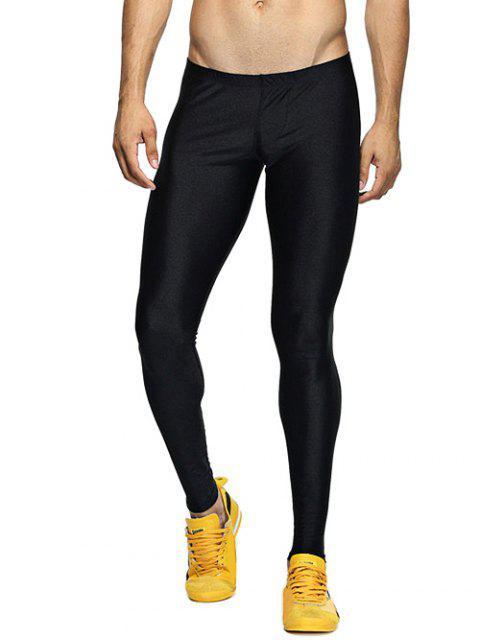 Solide dünne elastische Taillen-Gym Pants - Schwarz XL Mobile