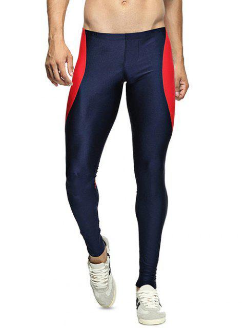 Dünne färbige gespleißte Gym Hosen - Dunkel Blau L Mobile