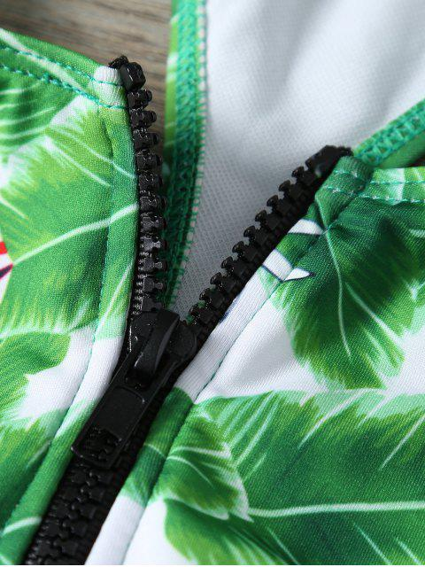 outfit Zip Front Foliage Print Swimsuit - GREEN L Mobile