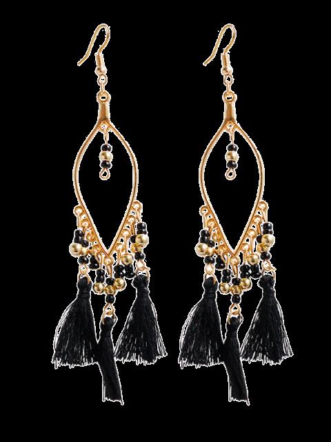 shop Vintage Beads Tassel Drop Earrings - BLACK  Mobile