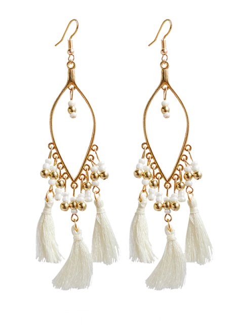 outfits Vintage Beads Tassel Drop Earrings - WHITE  Mobile