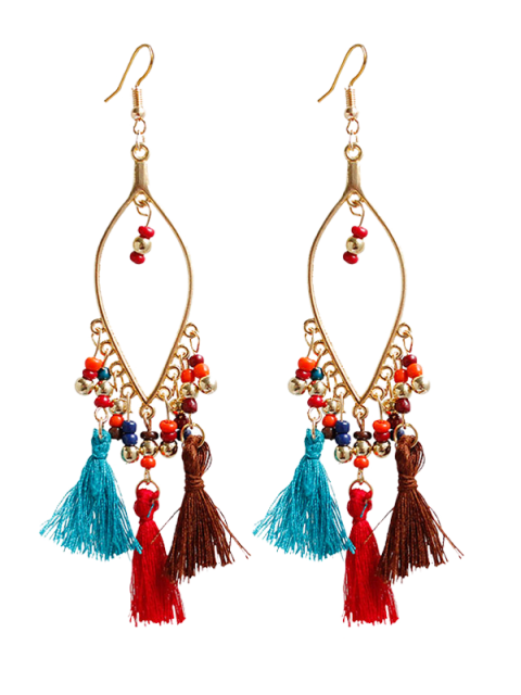 shops Vintage Beads Tassel Drop Earrings -   Mobile
