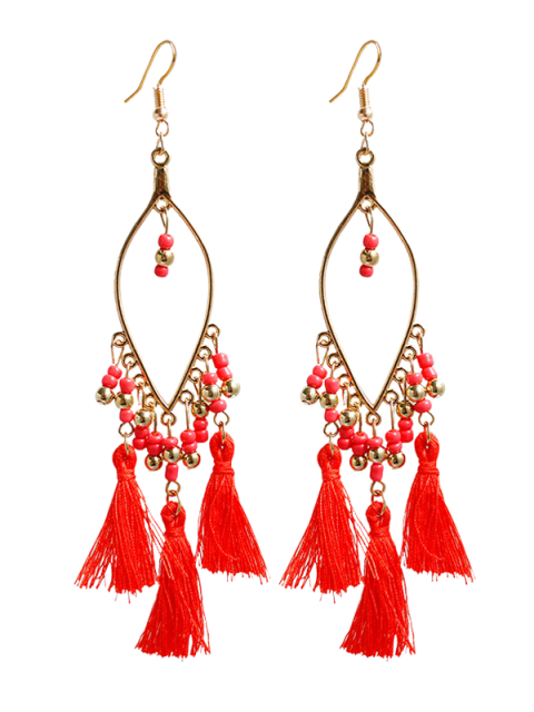outfit Vintage Beads Tassel Drop Earrings - RED  Mobile