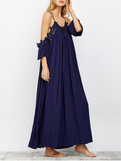 lady Cold Shoulder Flowing Maxi Dress - NAVY L Mobile