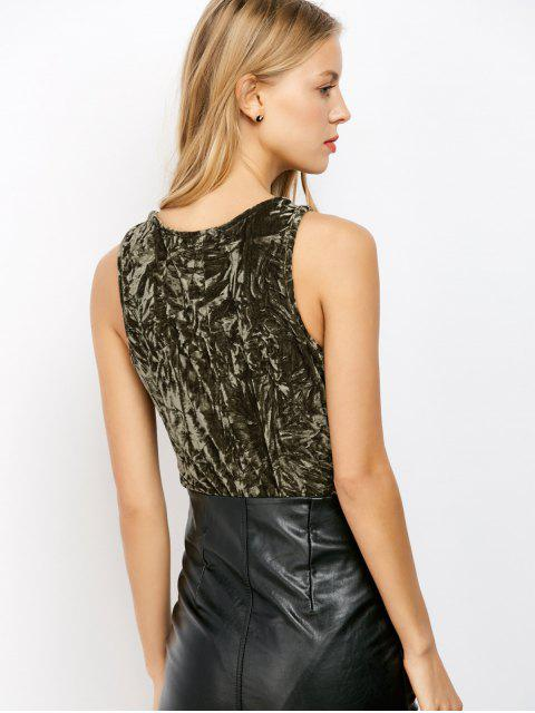 Lace Up Velvet Bodysuit - Vert Armée L Mobile