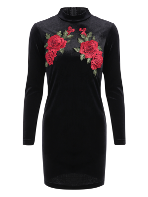 Long Sleeve Floral Embroidered Bodycon Dress - Black S