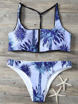 Impreso De La Cremallera Y Back Set Bikini - Azul Piedra L