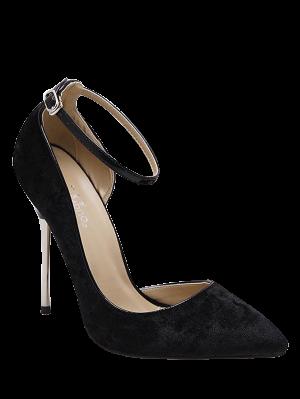 Velvet Pointed Toe Ankle Strap Pumps