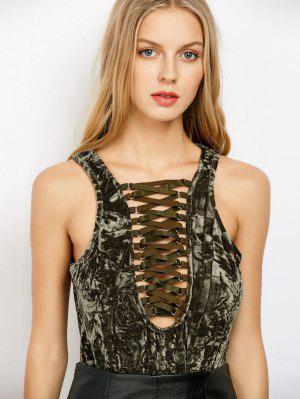 Lace Up Velvet Bodysuit - Army Green S