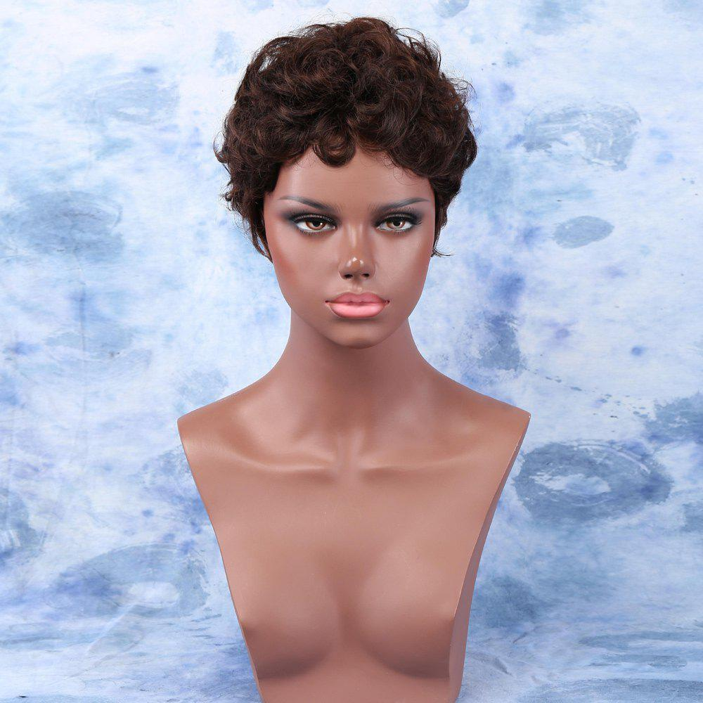 Endearing Deep Brown Short Fluffy Curly Side Bang Synthetic Wig For Women 192195401
