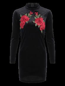 Robe Moulante à Fleur Brodé Manches Longues - Noir L
