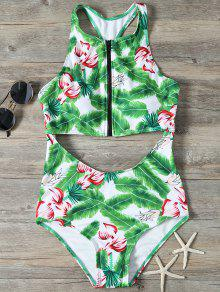 Zip Front Foliage Print Swimsuit - Green L