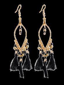 Buy Vintage Beads Tassel Drop Earrings - BLACK