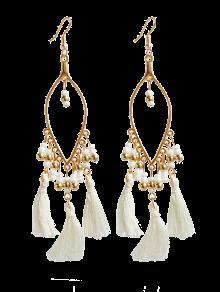Buy Vintage Beads Tassel Drop Earrings - WHITE
