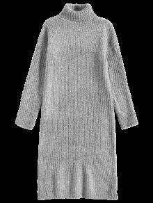 السلحفاة الرقبة تويد طويل سترة اللباس - رمادي