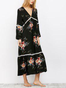 Impresión Floral Del Ganchillo Del Vestido De Boho Del Ajuste - Negro Xl