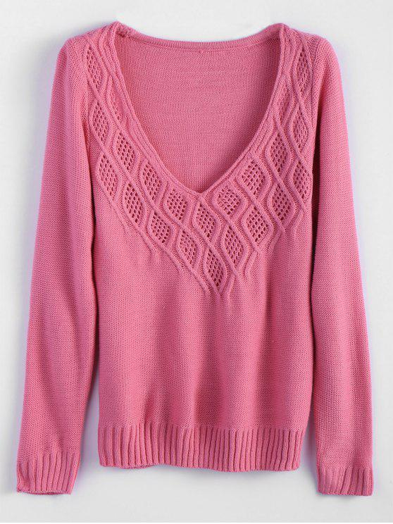 buy Cable Knit Plunging Neck Tunic Sweater - PINK M