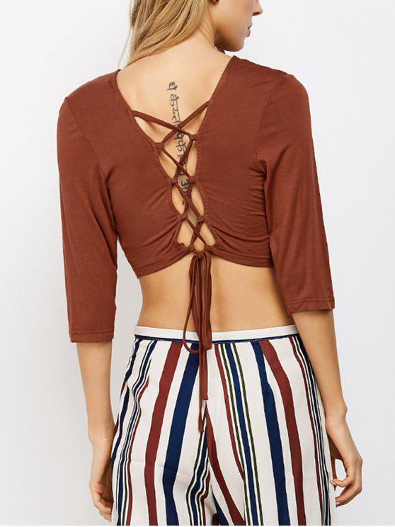 shop Lace Up Back Criss Cross Crop Top - BROWN #26 M