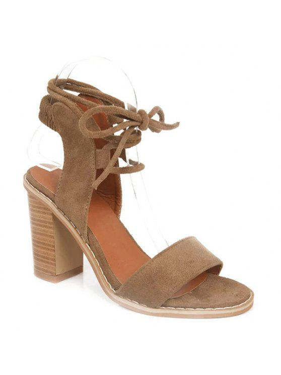 chic Tie Up Suede Sandals - CAMEL 37