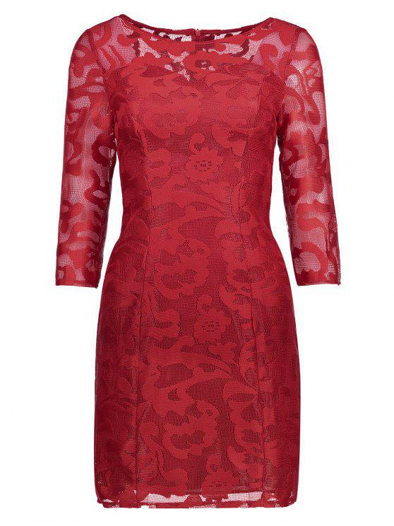 فستان شفاف دانتيل - أحمر L