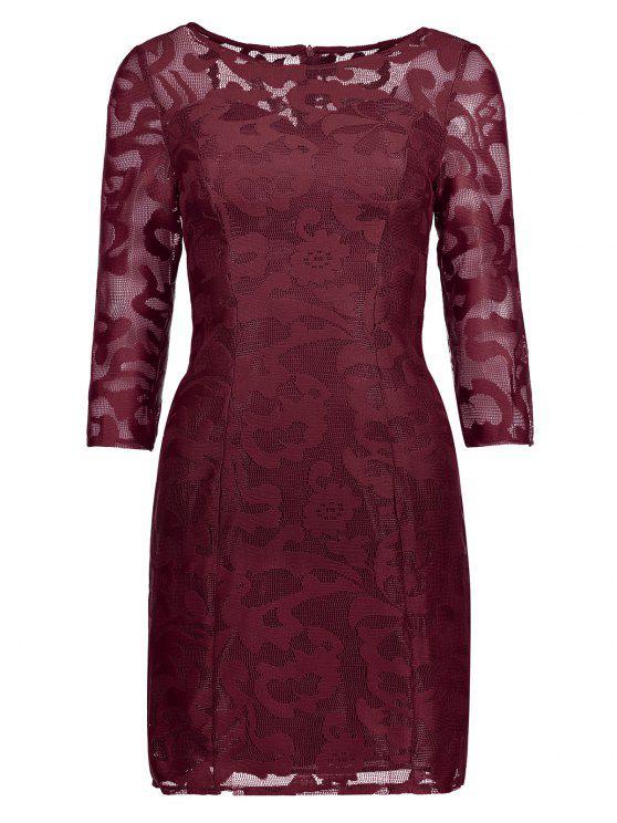 فستان شفاف دانتيل - نبيذ أحمر L
