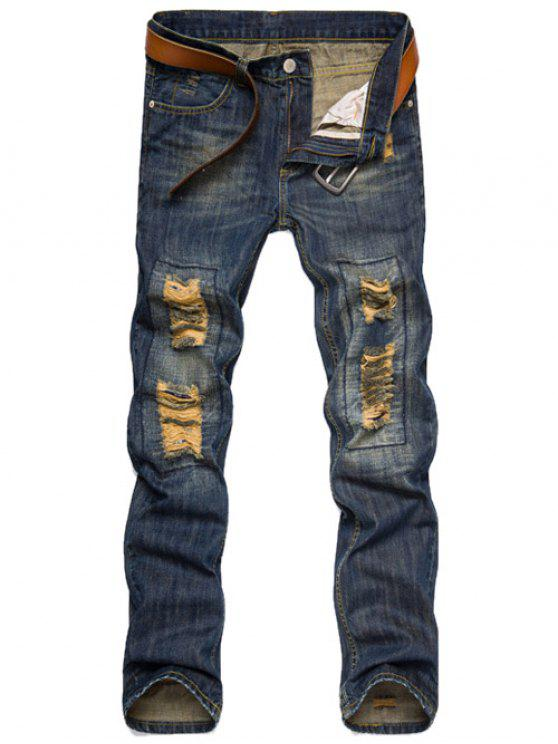 Slim Fit Destroyed Jeans - Blu Scuro 34