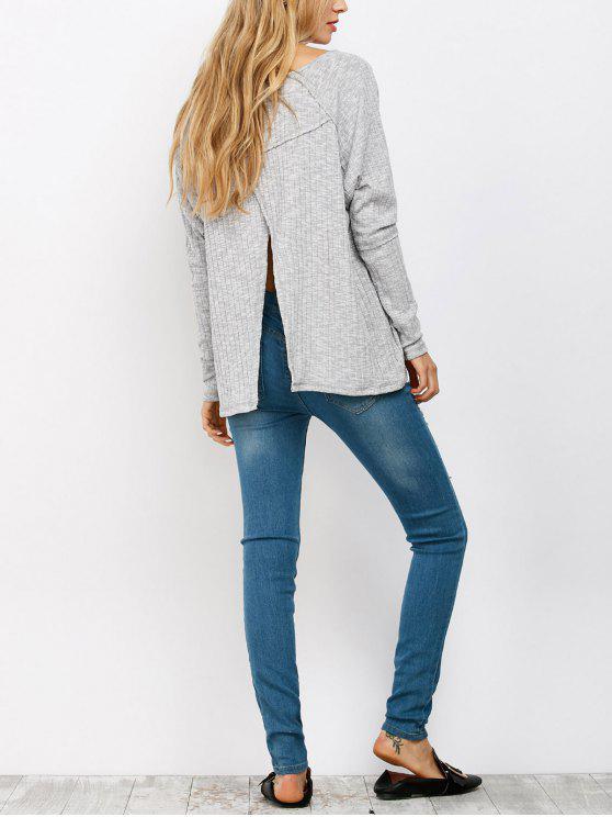hot Slit V Neck Ribbed Knitwear - LIGHT GRAY S