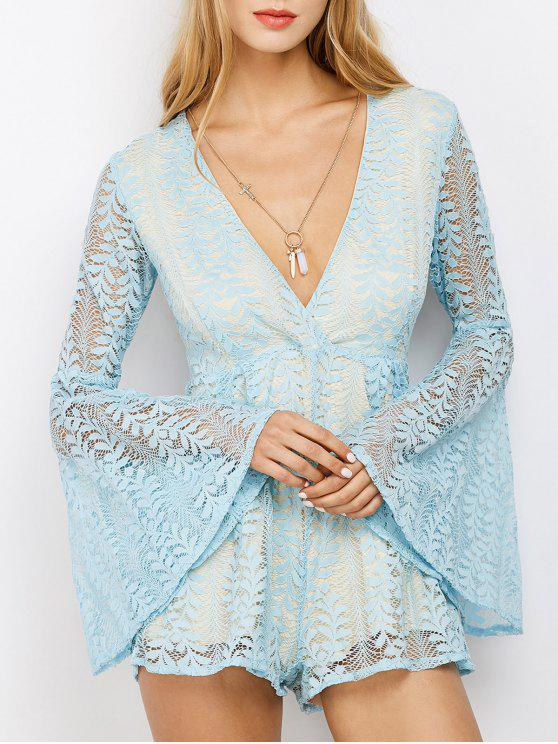 fancy Lace Plunging Neck Flare Sleeve Romper - LIGHT BLUE M