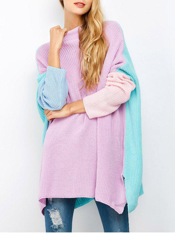 womens Color Block Oversized Jumper - PURPLE XL