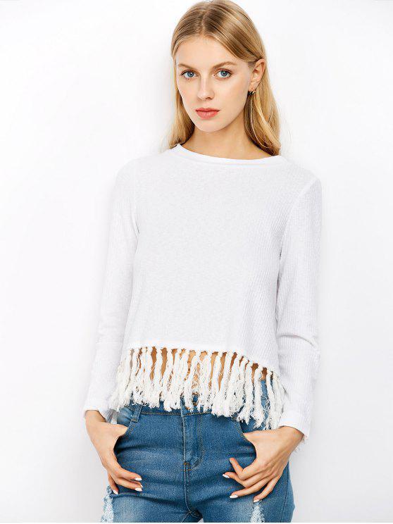 latest Slit Tassel Ribbed Knitwear - OFF-WHITE S