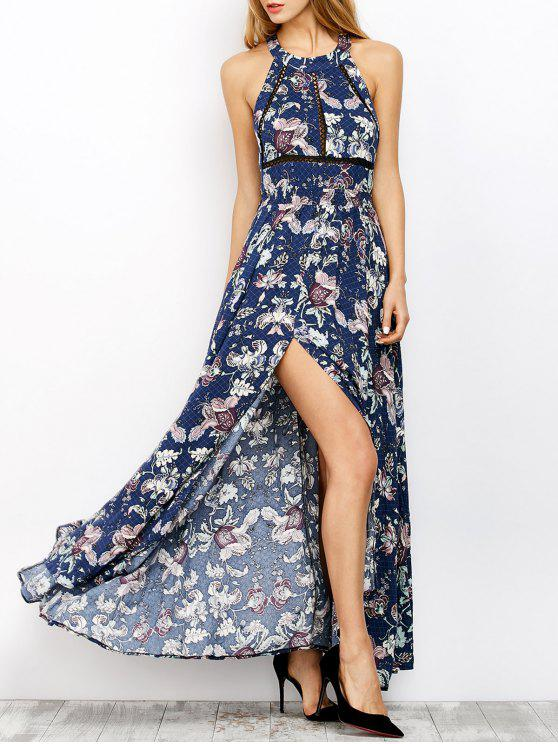 outfits Floral Print Maxi Flowing Dress - BLUE S