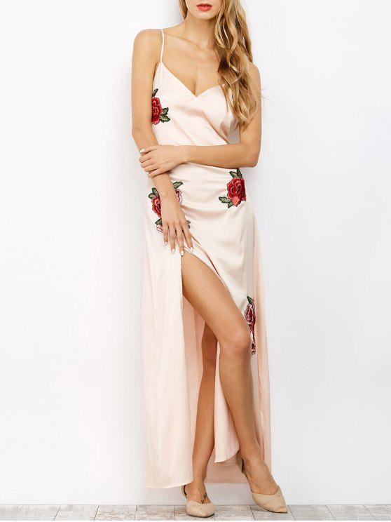 fashion High Slit Floral Slip Maxi Dress - LIGHT APRICOT PINK L