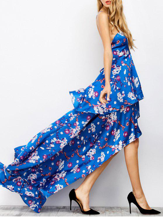 sale Floral Tiered Maxi Prom Dress - BLUE S