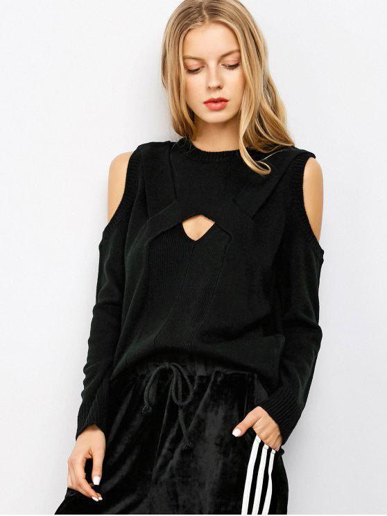 affordable Cut Out Cold Shoulder Sweater - BLACK M