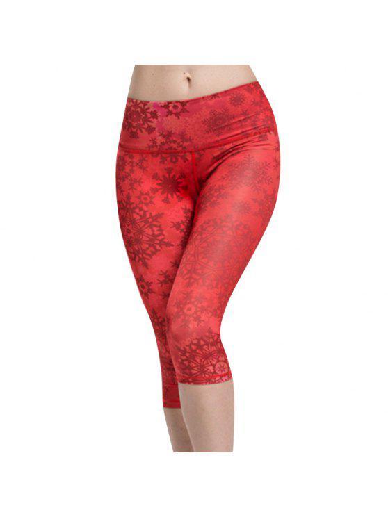 Chic taille haute Snowflake Sport Leggings pour les femmes - Rouge L
