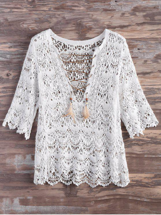 Crochet Lace Up pluma Cover Up - Blanco L