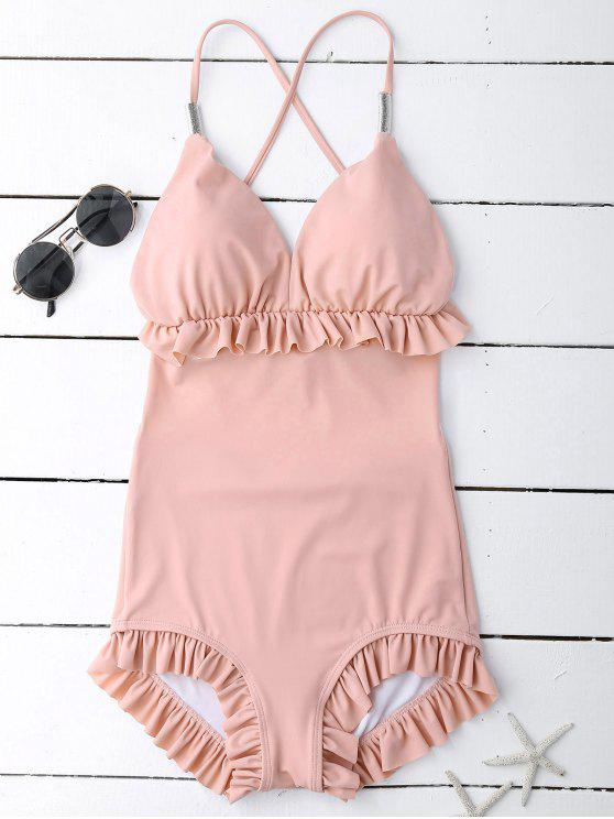 chic Frilled Slimming Swimsuit - PINK L